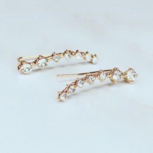 Jewelry - Women fashion rhinestone gold crystal earring hook